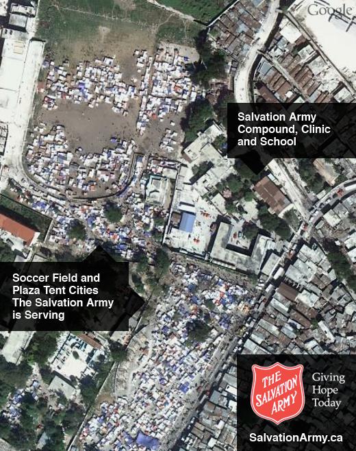Imagem aérea do local de atuação do Exército de Salvação com os desabrigados do Haiti